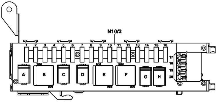 Мерседес s 220 предохранители схема